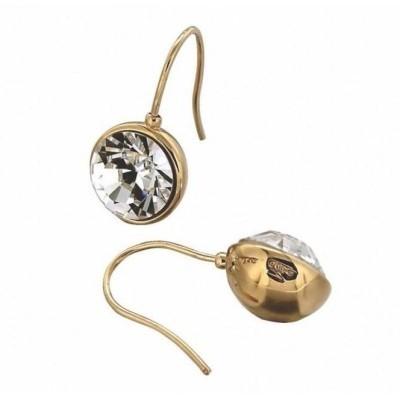 Boucles d'oreilles, boules plaqué or, cristal de Swarovski noir