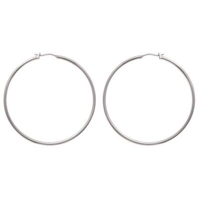 Créoles pour femme en acier gris, diamètre 60 mm - Salamanca - Lyn&Or Bijoux