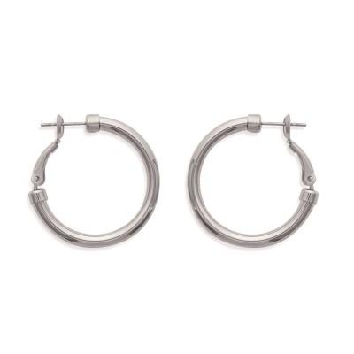 Créoles épaisses en acier 30 mm pour femme - Volea - Lyn&Or Bijoux