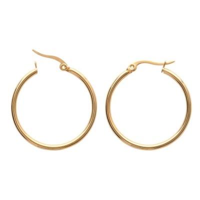 Boucles d'oreilles créoles femme, acier doré 30 mm - Paradise - Lyn&Or Bijoux