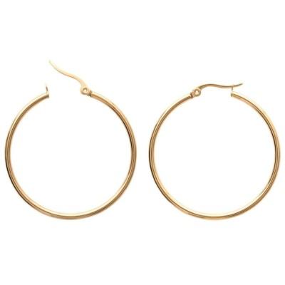 Créoles pour femme en acier doré, diamètre 40 mm - Paradise - Lyn&Or Bijoux