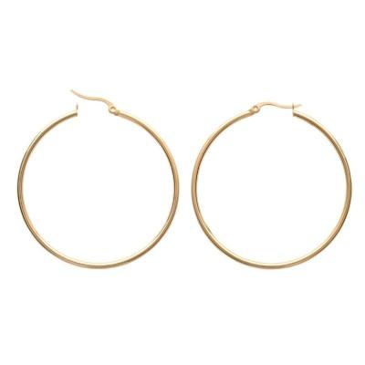 Boucles créoles femme, acier doré 50 mm - Paradise - Lyn&Or Bijoux