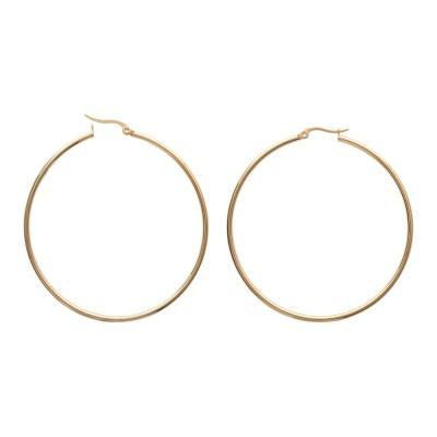 Créoles pour femme en acier doré, diamètre 60 mm - Paradise - Lyn&Or Bijoux