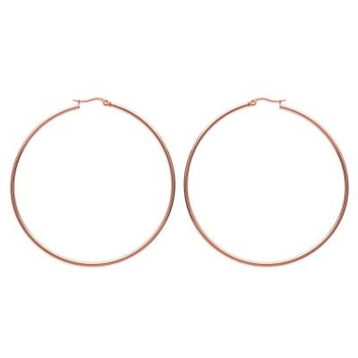 Anneaux créoles pour femme acier rose 70 mm, Bianca