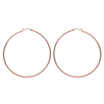 Créoles pour femme en acier rose, diamètre 70 mm - Bianca - Lyn&Or Bijoux