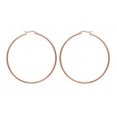 Créoles pour femme en acier rose, diamètre 60 mm - Bianca - Lyn&Or Bijoux