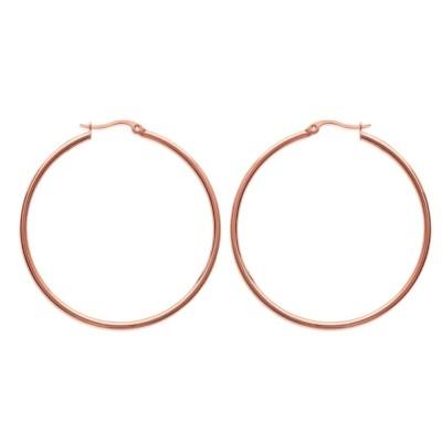 Créoles pour femme en acier rose, diamètre 50 mm - Bianca - Lyn&Or Bijoux