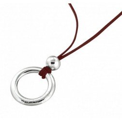 Collier créateur en argent et suédine rouge pour femme - Cercle - Lyn&Or Bijoux