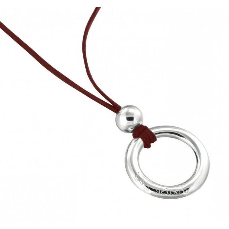 Collier de créateur tendance pour femme LZ, Suédine rouge, cercle en argent