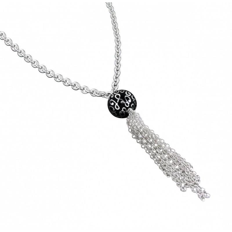 long collier sautoir en argent pour femme, perle noire signée - Bijoux de créateur pour femme
