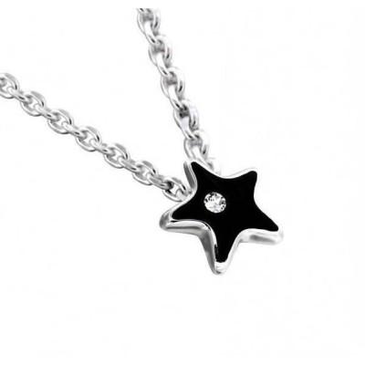 Collier mode femme LZ - Etoile résine noire - cristal de Swarovski