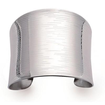 Bracelet manchette en acier gris pour femme - Adelina - Lyn&Or Bijoux