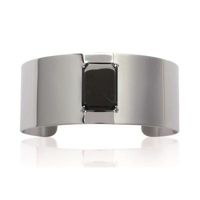 Bracelet manchette en acier et pierre noire pour femme - Paola - Lyn&Or Bijoux