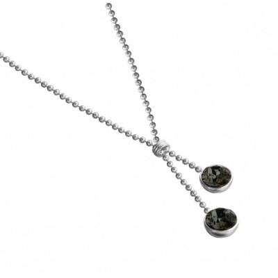 Collier tendance pour femme LZ, Boules argent, cristal de Swarovski noir