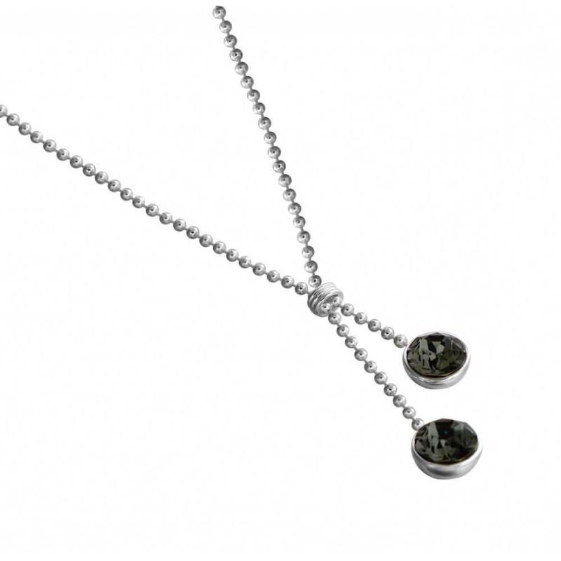 collier swarovski noir et argent pour femme, bijou de créateur