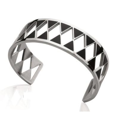 Bracelet manchette pour femme en acier et émail noir, Hepta