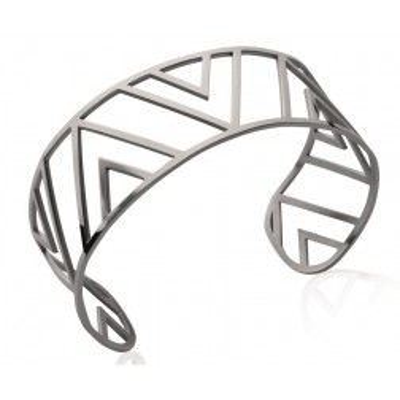 Bracelet manchette triangle en acier gris pour femme - Pilya - Lyn&Or Bijoux