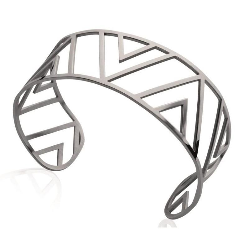 Bracelet manchette tendance en acier gris, Pilya