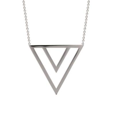 bijoux tendance femme - collier en acier avec grand pendentif triangle