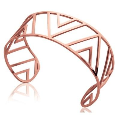 Bracelet manchette tendance en acier rose, Pilya