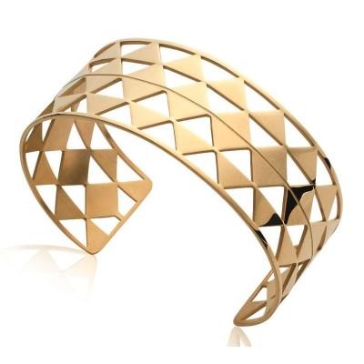 Bracelet manchette pour femme en acier doré, Xyna