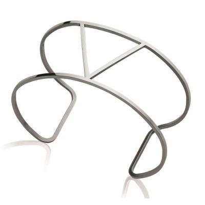 Bracelet manchette pour femme en acier gris, Abyssa