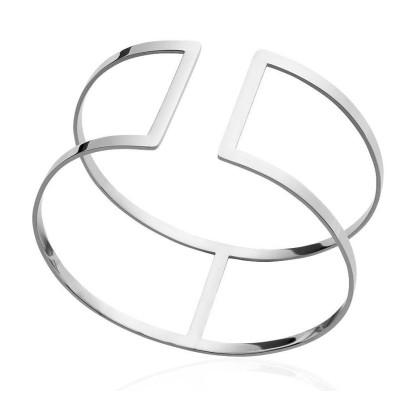Bracelet manchette pour femme en acier gris, Fyva