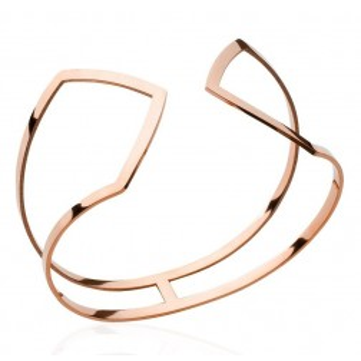Bracelet manchette pour femme en acier rose, Riviera