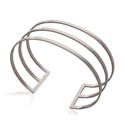 Bracelet manchette en acier gris pour femme - Xely - Lyn&Or Bijoux