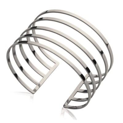 Bracelet manchette en acier gris pour femme - Yvana - Lyn&Or Bijoux