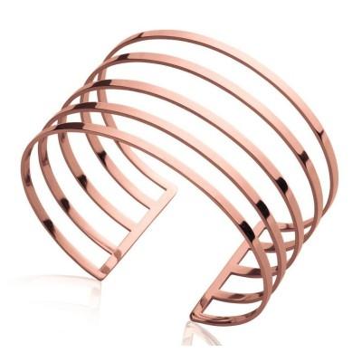 Bracelet manchette en acier rose pour femme