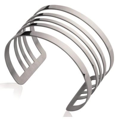 Bracelet manchette en acier gris pour femme - Queen - Lyn&Or Bijoux