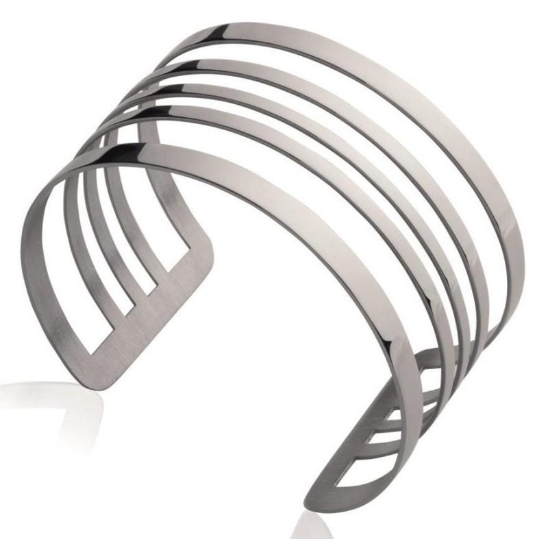 Bracelet manchette tendance en acier gris, Queen