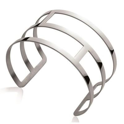 Bracelet manchette en acier gris pour femme - Eniy - Lyn&Or Bijoux