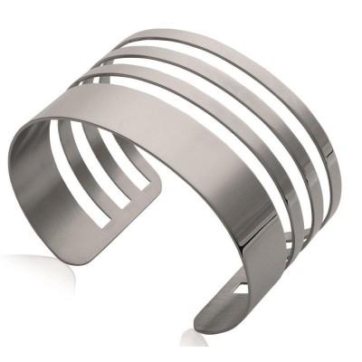 Bracelet manchette en acier gris pour femme - Evvy - Lyn&Or Bijoux