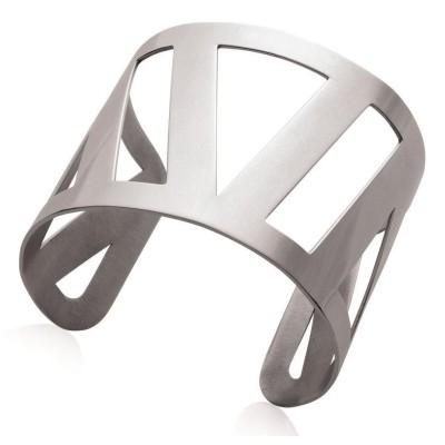 Bracelet manchette en acier gris pour femme - Guila - Lyn&Or Bijoux
