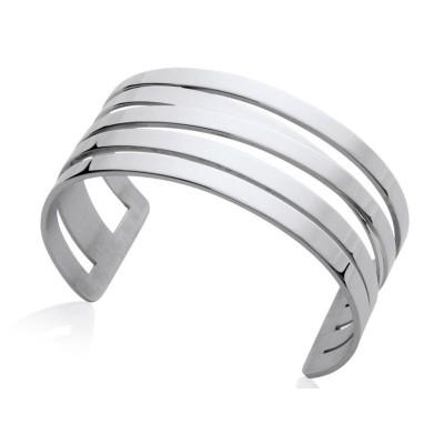 Bracelet manchette en acier gris pour femme - Evora - Lyn&Or Bijoux