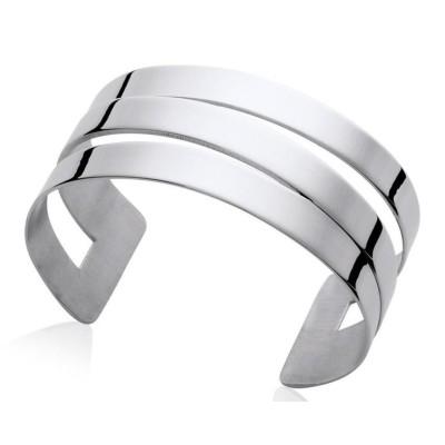 Bracelet manchette tendance en acier gris, Fiji