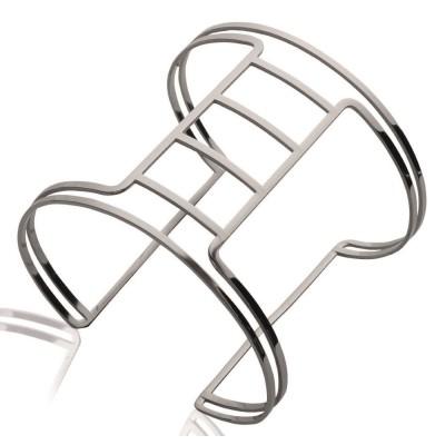 Bracelet manchette pour femme en acier gris, Sakina