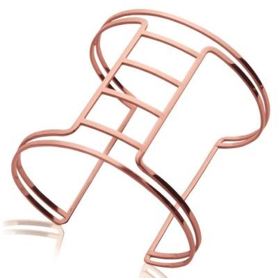 Bracelet manchette en acier rose pour femme - Sakina - Lyn&Or Bijoux