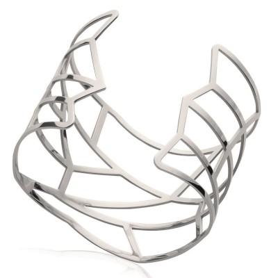 Bracelet manchette pour femme en acier gris, Infinissime