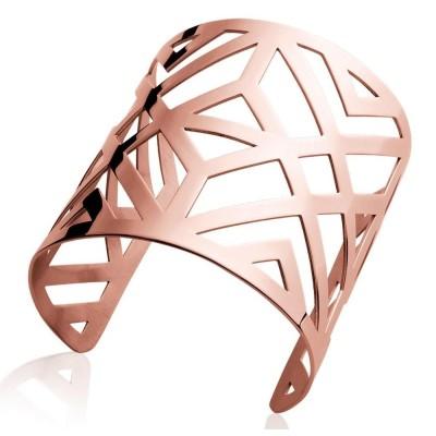 Bracelet manchette pour femme en acier rose, Tryna