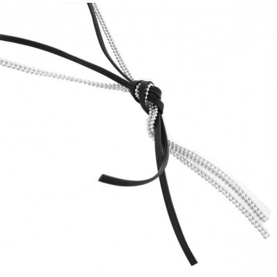 Sautoir tendance pour femme LZ, noeud de Cuir Noir, Argent