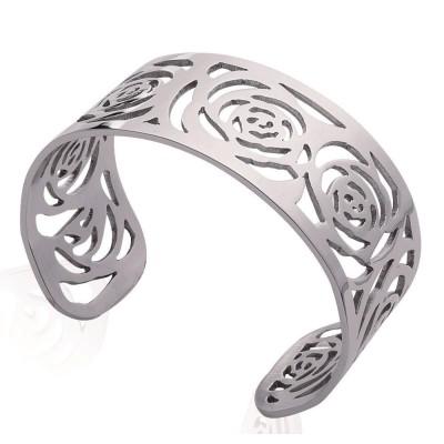 Bracelet manchette pour femme en acier gris, Octina