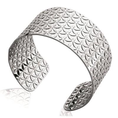 Bracelet manchette pour femme en acier gris, Paula