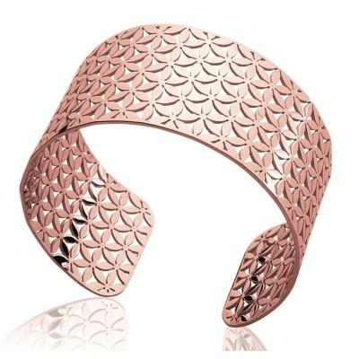 Bracelet manchette pour femme en acier rose, Paula
