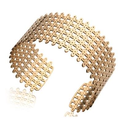 Bracelet manchette en acier doré - Qwanta - Lyn&Or Bijoux