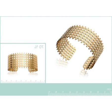 Bracelet manchette en acier doré, Qwanta