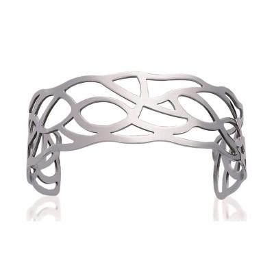 Bracelet manchette en acier gris pour femme - Septina - Lyn&Or Bijoux