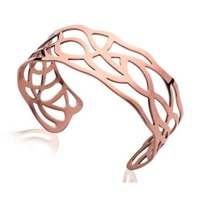 Bracelet manchette pour femme en acier rose, Septina